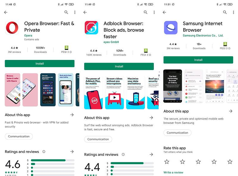 Android ad-blocking browsers